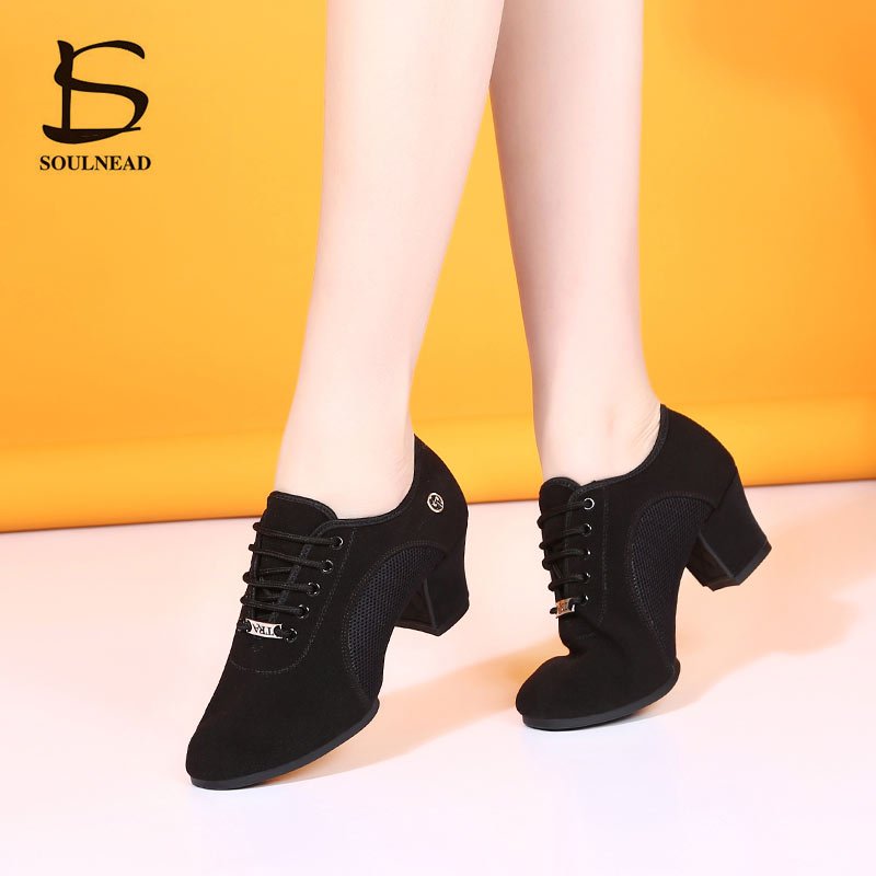 Breath Cloth Fabric Latin Salsa Dance Shoes For Women Middle Heels Ballroom Dance Shoes Ladies Black Non-slip Modern Dance Shoes