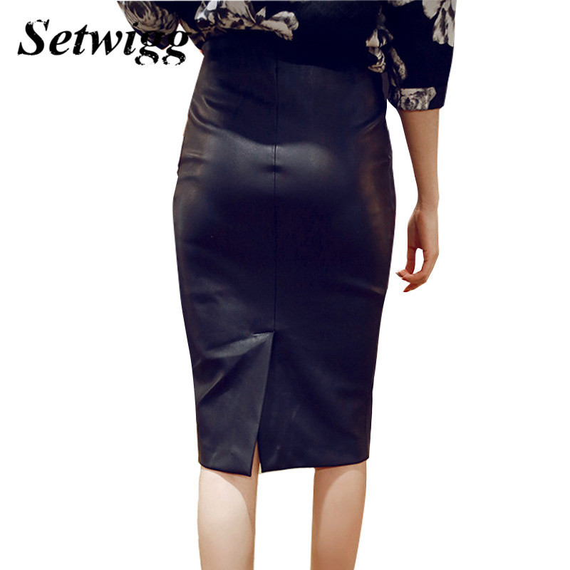 High-Quality-PU-Leather-Pencil-Skirts-Empire-Waisted-Zipper-Vintage-Spring-Black-Faux-Synthetic-Leather-Bodycon (2)