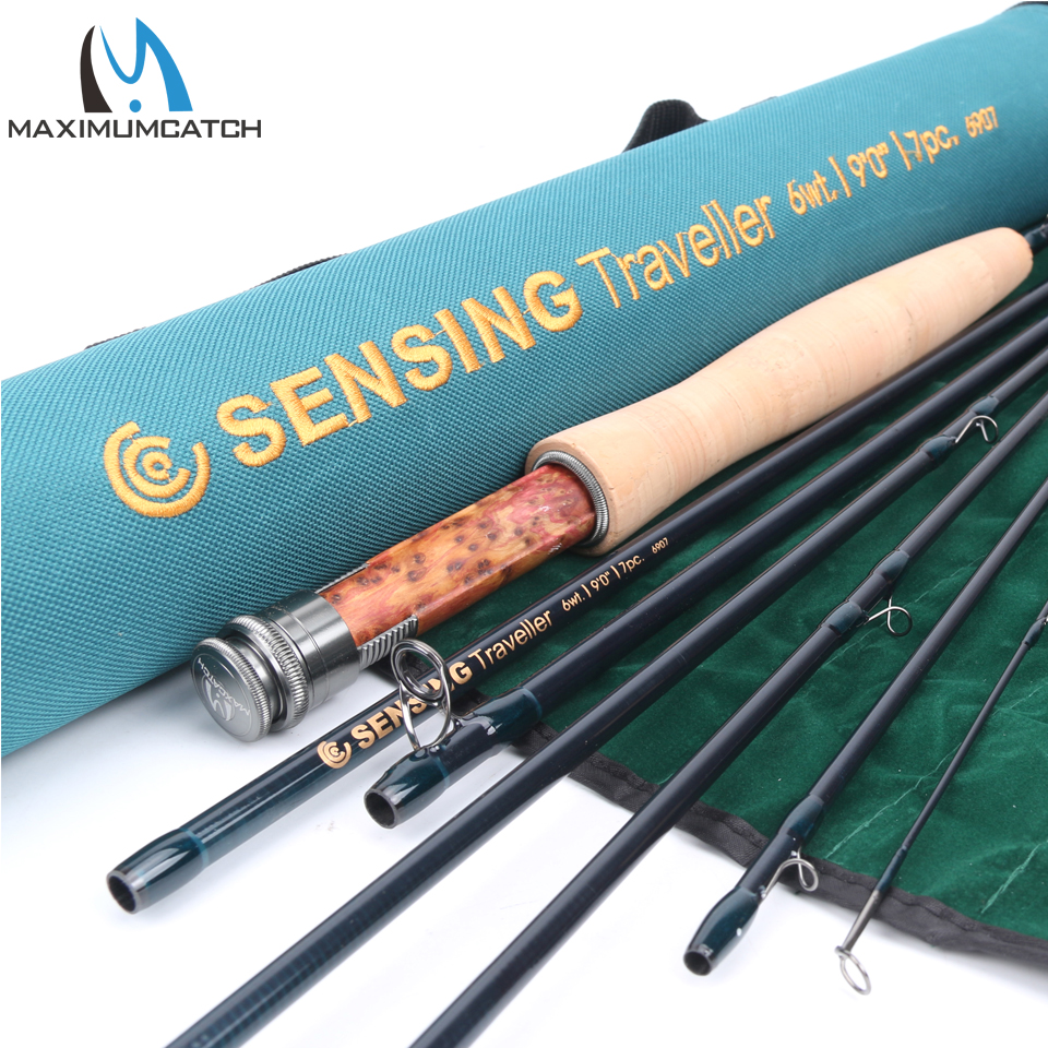 Maximumcatch Fly Fishing Rod 9FT 6WT 7Pcs Sensing Traveller Half-well Fast Action Carbon Fiber Fly Rod with Cordura Tube maximumcatch fly fishing rod 9ft 5wt 4pcs half well fast action with aluminium tube fly rod