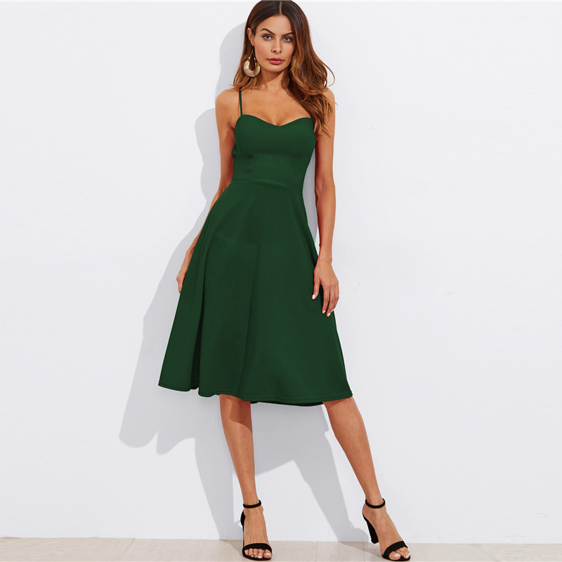 COLROVIE Crisscross Belted Back Cut Out Fitted & Flared Dress Red Spaghetti Strap Sleeveless Sexy A Line Party Dress Green 17