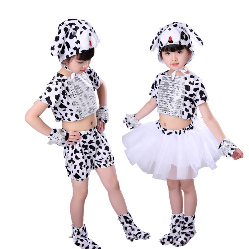 Children Kids Animal Spotty Dog Costume Tail Tutu Skirt Dalmatian Boy Girl Halloween Party Cosplay Costumehat Gloves Shoes