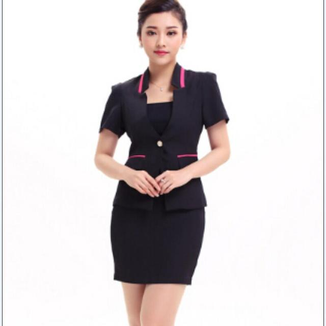 2015 бесплатная доставка летний стиль формальные женщины сплошной офисные дамы юбка костюмы черный карьера равномерное отлично краткое рабочая одежда