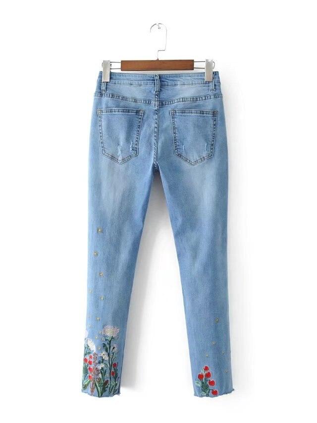 Trou Chrysanthème Bleu Femmes Crayon Petit xl Broderie Mi S Taille Pantalon Fleurs Coton Maigre Lanbaiyijia Jeans 7pwqZqx