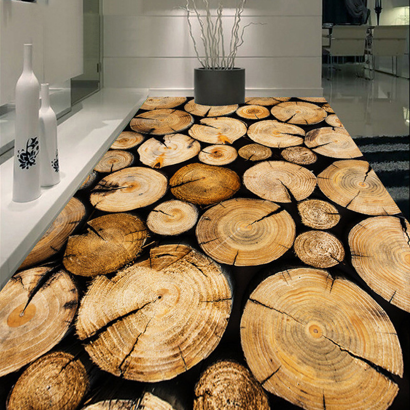 Country Style Sawmill Wood Pile Mural Floor Wallpaper Customized For Bathroom Living Room Home Decor Waterproof Floor Wall Paper In Wallpapers From Home