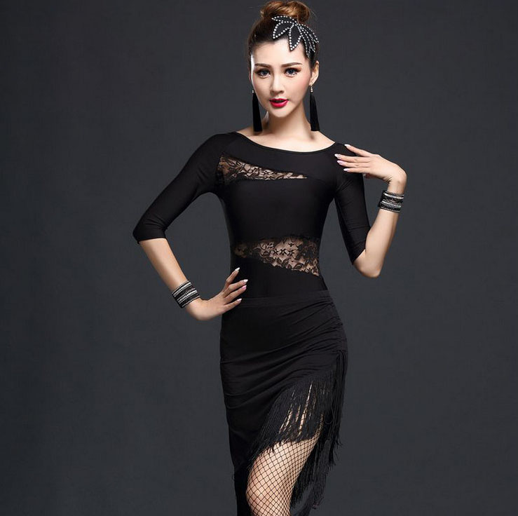 Adult Slim Ballroom Fringe Lace Latin Salsa Cha Cha Competition Dance Costume Clothes for Women Dance Wear Dancing Tops Skirts