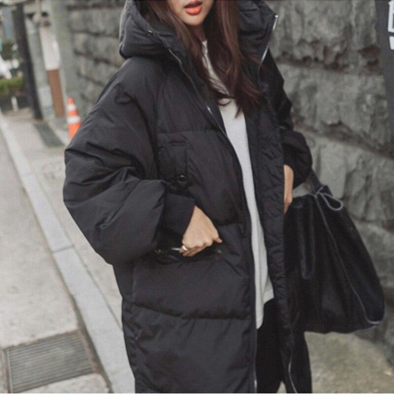 Capot Noir Chaud Rétro Mode Fourrure Manteaux Duvet Corée D'hiver Manteau Parka Femmes Avec Taille De Femme Oversize Plus Épais Canard qwqHp