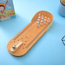 Mini Funny Desktop Bowling Game Set Wooden Bowling Alley Ten Metal Pin Ball Desk Toy For Children Kids Decompression Toys Gift(China)