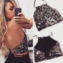 97fe4aec65 Thefound Fashion Sexy Club Tanks Womens Metal Crop Tops Backless Bralette  Body Chain Backless Summer Sequin