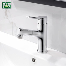 FLG Basin Faucets Pull Out Chrome Bathroom Sink Crane Copper Sink WC Mixer Taps Hot and Cold Deck Mounted Bathroom Faucet 1061 цена 2017