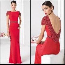 Herrliche Rote Abendkleider mit Kappen-hülsen Perlen Strass Sexy Boot-ausschnitt Prom Dresses Backless Formal Kleid 2016