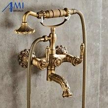 Античный матовый латунный Смеситель для ванны, настенный смеситель для ванной комнаты, кран с ручной насадкой для душа, смеситель для ванны и душа