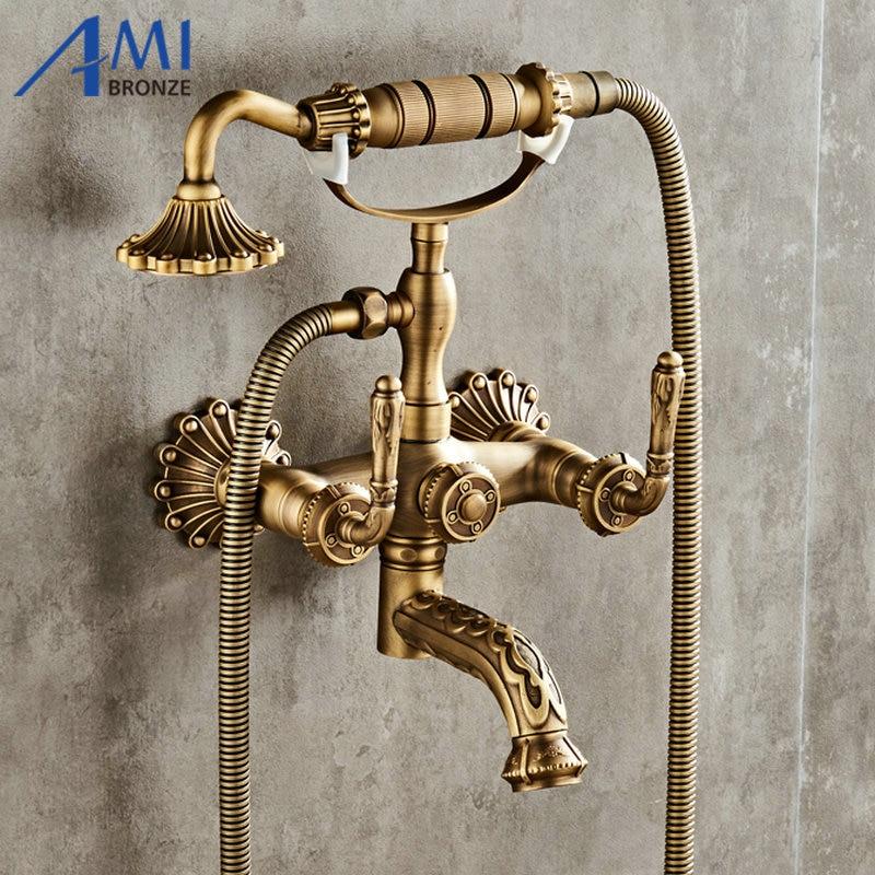 Antique laiton brossé robinets de bain mural salle de bain bassin mélangeur robinet grue avec main douche tête bain & douche robinet