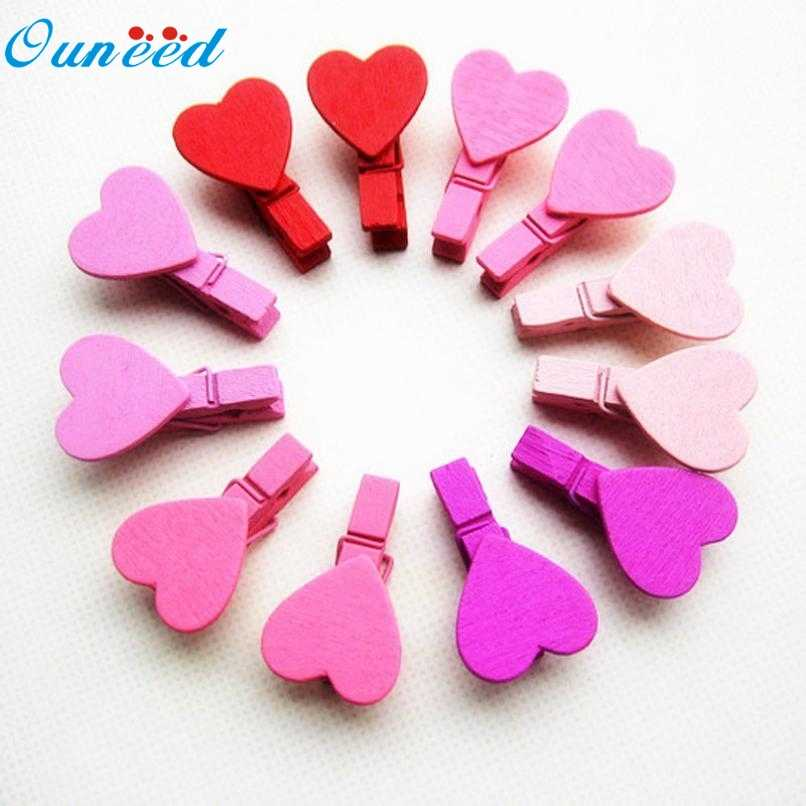 New Hot Tinggi Kepraktisan Kayu 12 Pcs Mini Jantung Cinta Pakaian Wooden Photo Paper Peg Pin Clothespin Craft Klip 32