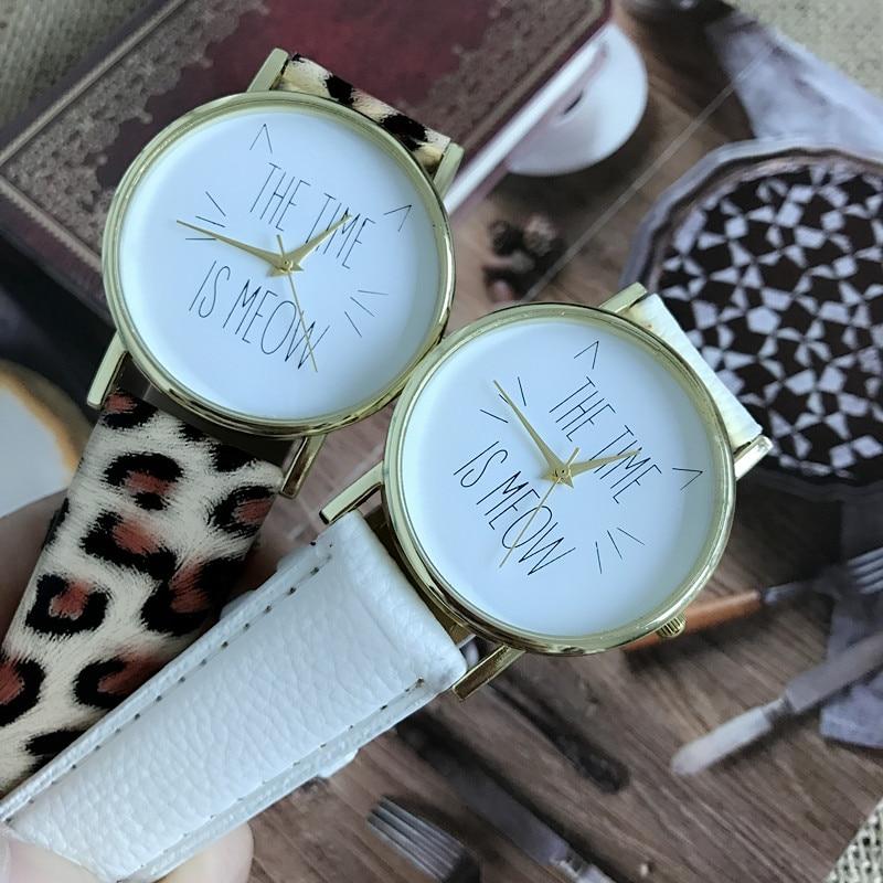 el tiempo es el maullido de cuero reloj para laides relojes estudiantes relojes historieta de la