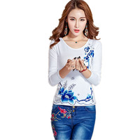 Spring Autumn Casual Women T Shirt 5XL Plus Size Slim Embroidery Pullover T Shirt Clothing Blusa