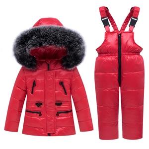 Image 4 - 2020 new Winter Baby Boy Girl clothing Set warm Down Jacket coat Snowsuit Children parka Kids Clothes Ski suit Overalls overcoat