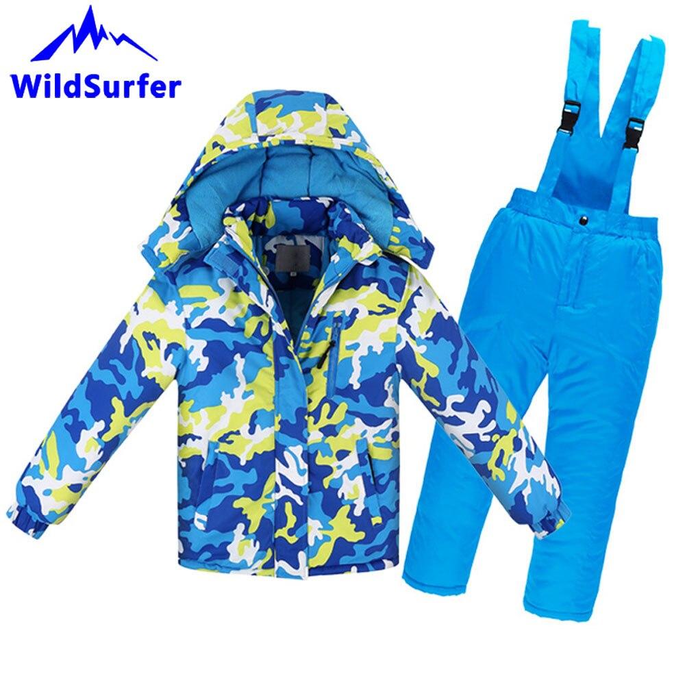 WildSurfer/Детские зимние камуфляжные лыжные комплекты ветрозащитная Теплая Лыжная куртка для мальчиков и девочек, штаны Детские Зимние костюм