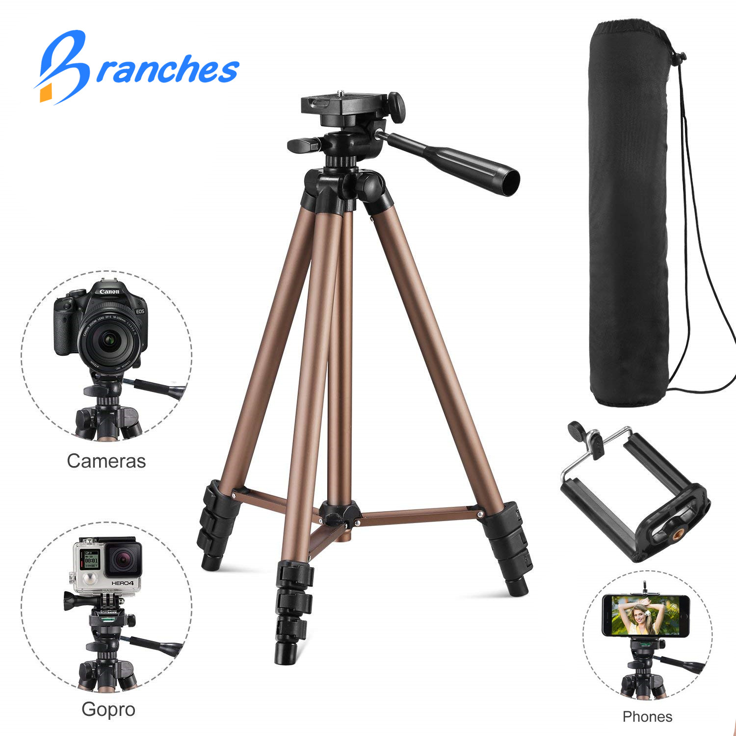 Universal Portable Tripod Lightweight Camera Tripod For Mobile Phone Professional Tripod For Canon Sony Nikon Camera SmartPhone