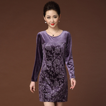 Purple Velvet Dress Ladies Bodycon Midi Spring Slim Pencil Dresses Women Elegant Long Sleeve Party Vestidos Plus Size XL-6XL
