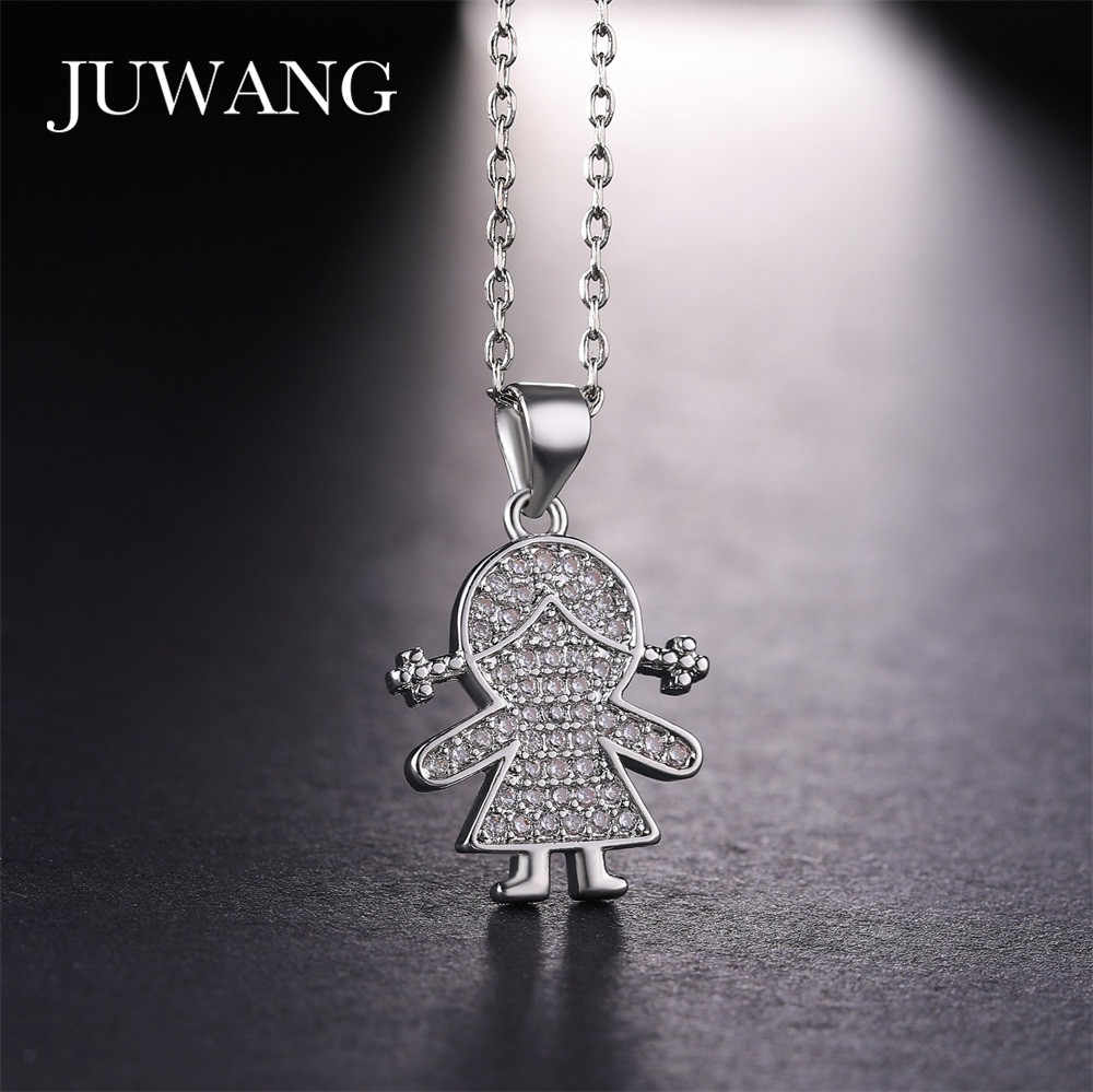 JUWANG Cute Girl Figure Shape Pendant Necklaces for Girls Women Gold/Silver/Rose color Necklace Children 925 Jewelry Wholesale