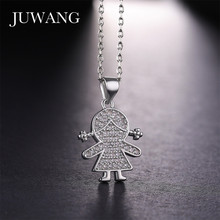 JUWANG Cute Girl Figure Shape Pendant Necklaces for Girls Wooman   Gold/Silver/Rose Color Necklace Children Jewelry Wholesale