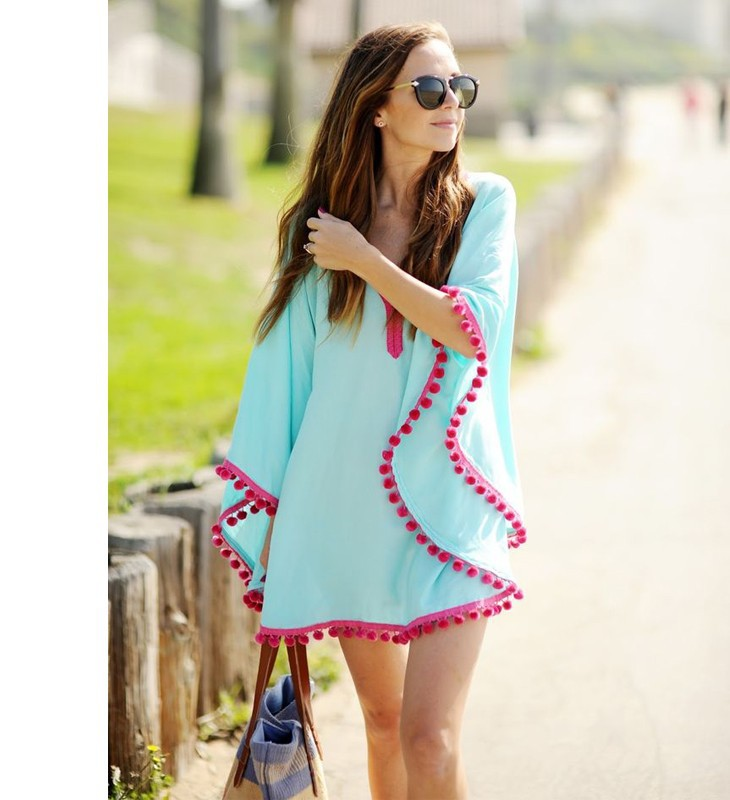 17 New Summer Women Pom Pom Trim Kaftan Beach Dress Lady Swimwear Bikini Cover-up Beach Tunic Wear for Girl 41150 3