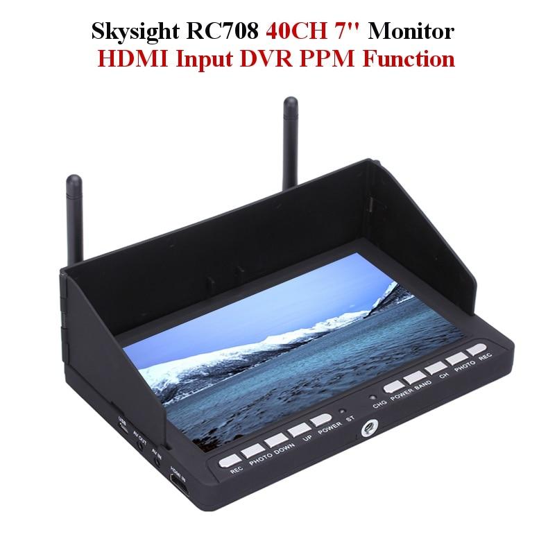 Skyzone Skysight RC708 5.8G 40CH Diversity Rx 7 Inch Monitor HDMI Input DVR Ppm Support Fatshark ImmersionRC