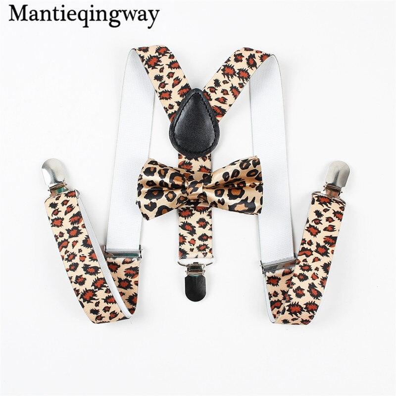 Mantieqingway Baby Suspenders Bowtie Sets Fashion Kids Braces 3 Clips Boy Suspenders Wedding Bow Tie Suspenders Elastic Strap