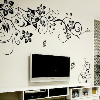 Hot DIY Romantic Flower Wall Sticker-Free Shipping 3D Wall Stickers Living Room