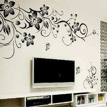 Hot DIY Wall Art Decal Decoration Fashion Romantic Flower Wall Sticker/ Wall Stickers Home Decor 3D Wallpaper Free Shipping(China)
