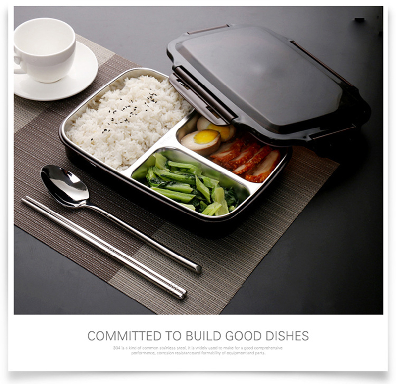 TUUTH Stainless Steel Lunch Box Large-capacity Microwave Heating Portable Dinne Food Containers For Picnic Office School B1