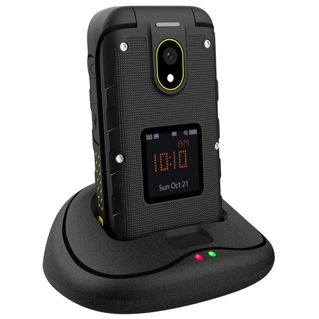 Ioutdoor F2 טלפון רוסית שפה Slim Flip מחוספס עמיד למים תצוגה כפולה עגינה תחנת SOS לפיד LED בכיר נייד טלפון