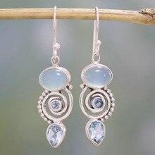 8Seasons Vintage Rotating Water Droplets Pear Shape Dangle Hook Earrings For Women Blue Rhinestone Wedding Ethnic Jewelry Gifts