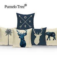 Bonito elk rena veados um lado impressão decoração da casa sofá assento de carro capa almofada decorativa capa travesseiro