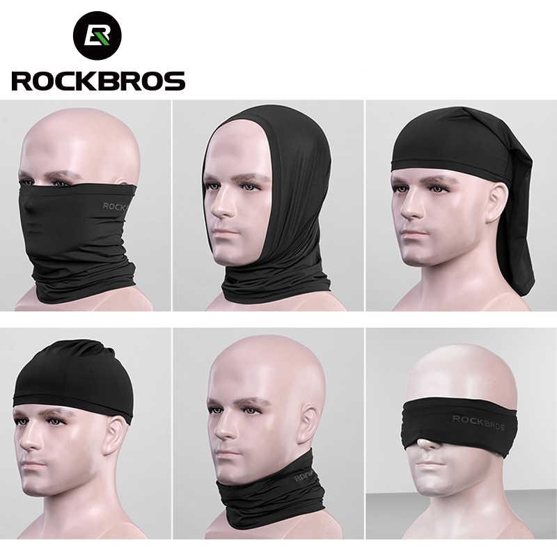 Rockbros cycing meia máscara facial gelo seda protetor solar absorver máscara de suor respirável bandana pescoço cachecol correndo pesca verão máscara
