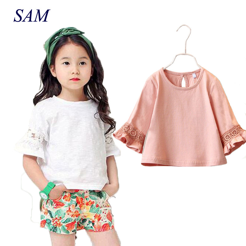 Princess Lace Kids girls T shirt Half sleeve children t shirts for girl top clothes clothing Summer Spring платье ea7 ea7 ea002ewrbc42