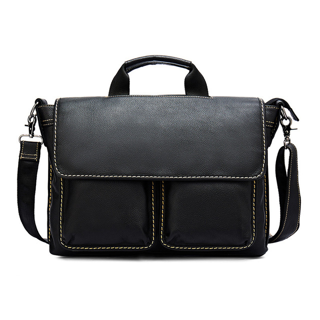 Mens Business Briefcase Vintage Handbag Genuine Leather black Crazy Horse Leather Laptop Bag Case Office Male Messenger Bags