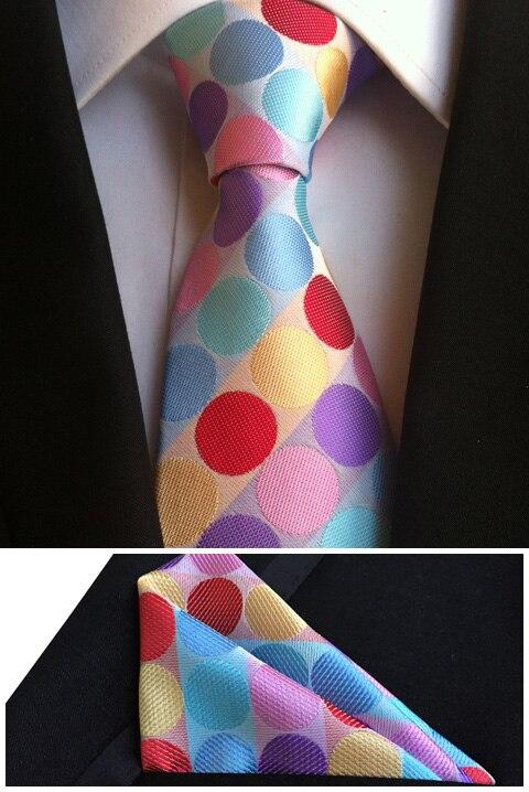 QXY mens fashion ties pocket square tie set men neckties business polyester silk tie handkerchief dot  T064