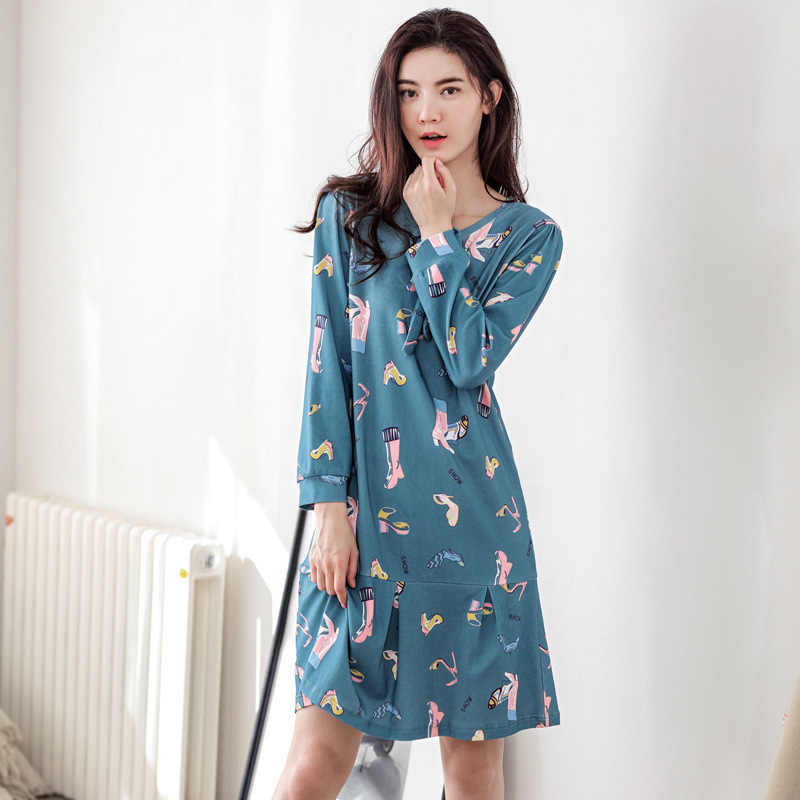 Nightdress female autumn long section of cotton Korean cute loose long-sleeved  pajamas home service 148985d80