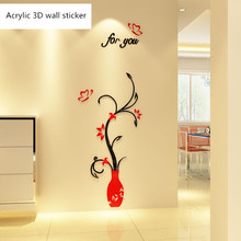 Nordic classical style Crystal Acrylic 3D Self-adhesive Wall Stickers living room vase TV background wall decoration painting