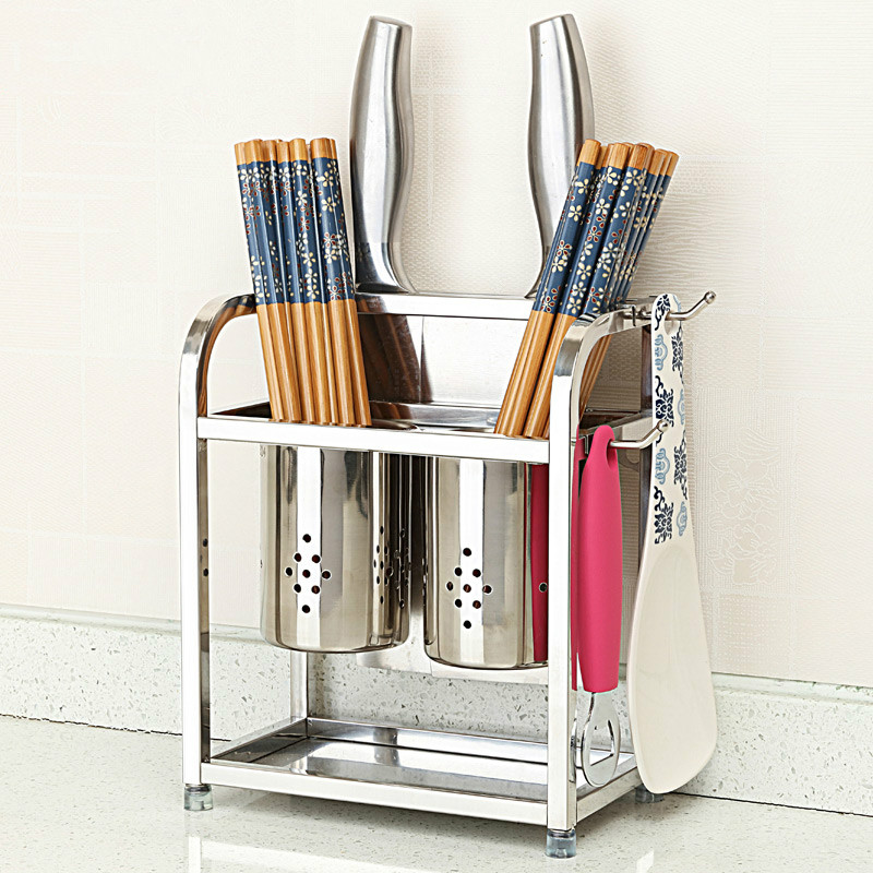 A1 304 stainless steel chopsticks rack leachate double tube kitchen rack knife holder chopsticks bucket cage LU42415