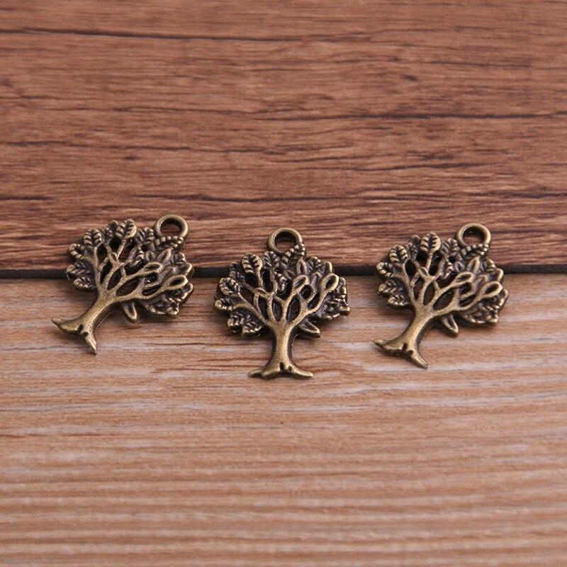 30PCS 16*21mm Plant Charms Tree Pendant Two Color DIY Retro Jewelry Bracelet Necklace Charms Pendant 3