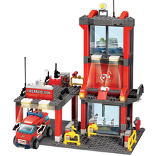 Fire Police Station Building Blocks Sets Fire Fighting Educational Toys Compatible Legoed City Bricks Toy For Children все цены