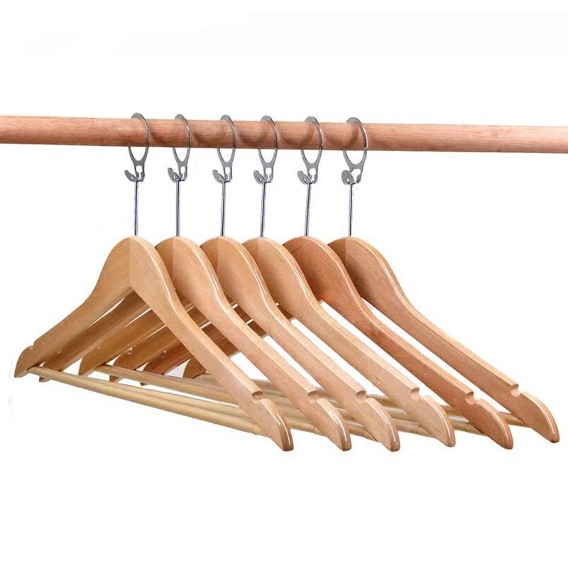 High Quality Anti theft Wood Hotel Suit Hanger Wood Clothes Hanger With Security Ring Hook 12