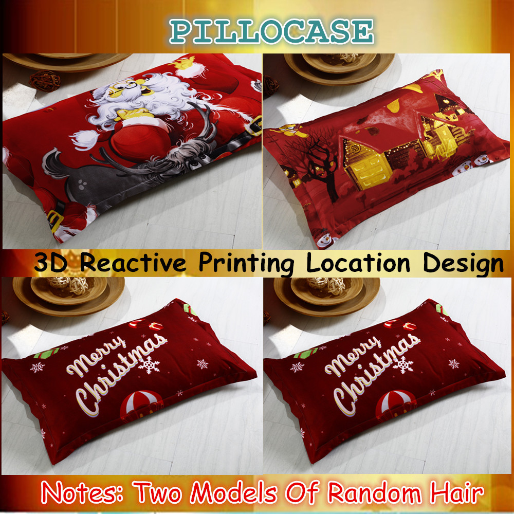 Great For Christmas, Set 4Pcs Christmas Santa Clause, 3D Bedding Set Duvet Cover Set,Sheet, Pillowcase, Sham Covers 4
