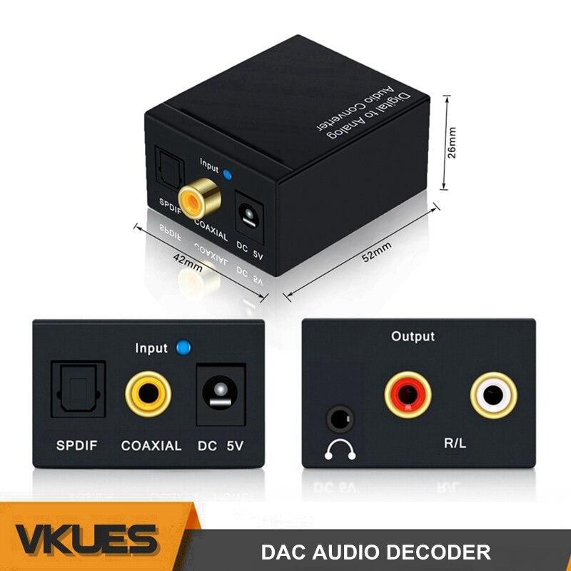 Koaxial Optische SPDIF Digital zu 2 RCA + 3,5mm Jack Analog Adapter Digital zu Analog Stereo Audio Converter Decoder verstärker