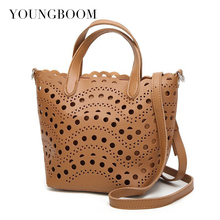 Youngboom New 2017 Women Summer Composite Bag Hollow Out Handbags High Quality Pu Leather Shoulder Bags Women's Fashion Handbags