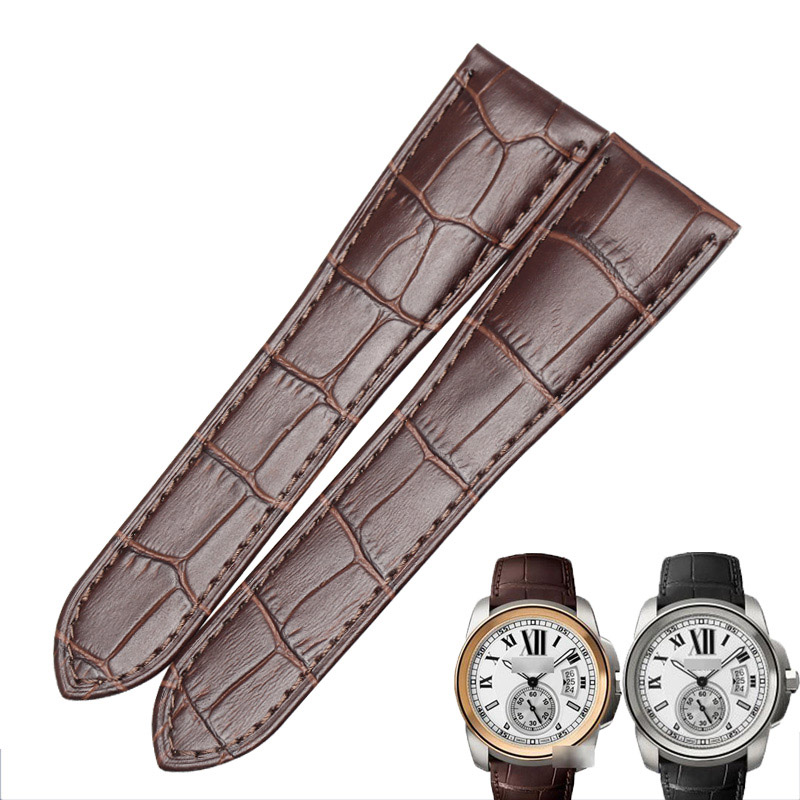 WENTULA Watchbands for CALIBRE DE CARTIER W7100037 W7100041 W7100039 calf-leather band Genuine Leather watchbands