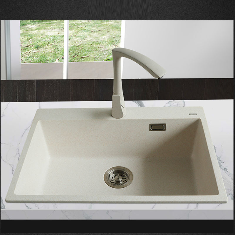 650 450 200mm Quartz Stone Kitchen Sink Granite Single Bowl Sink Kitchen Accessories Vegetables