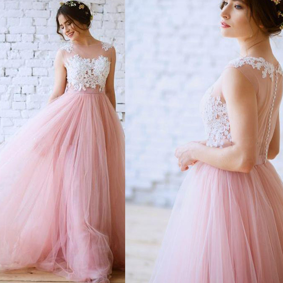 Simple O-neck Illusion Tulle Lace Applique Long Bridal Dress With Button Back A Belt Wedding Dress Vestido De Noiva
